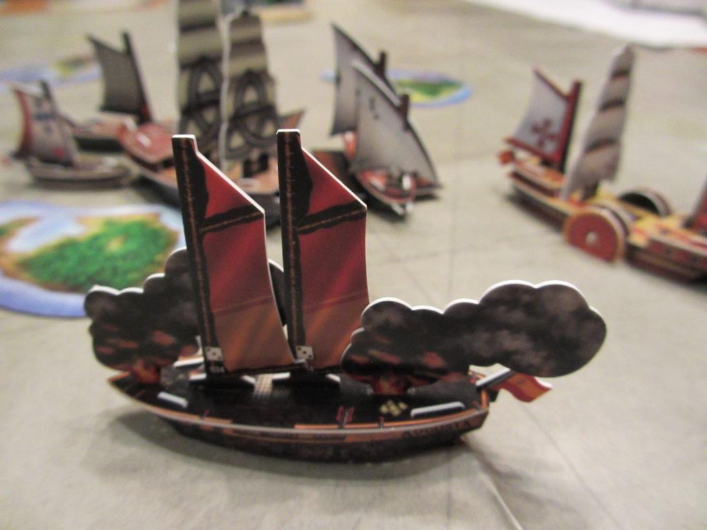Augusta ship on fire