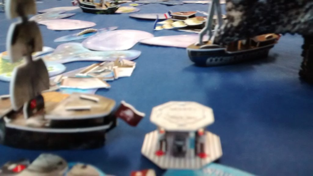flotilla fails to hit hoist ship low angle view