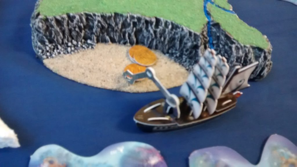hoist reaches crane arm over to explore wild island beach