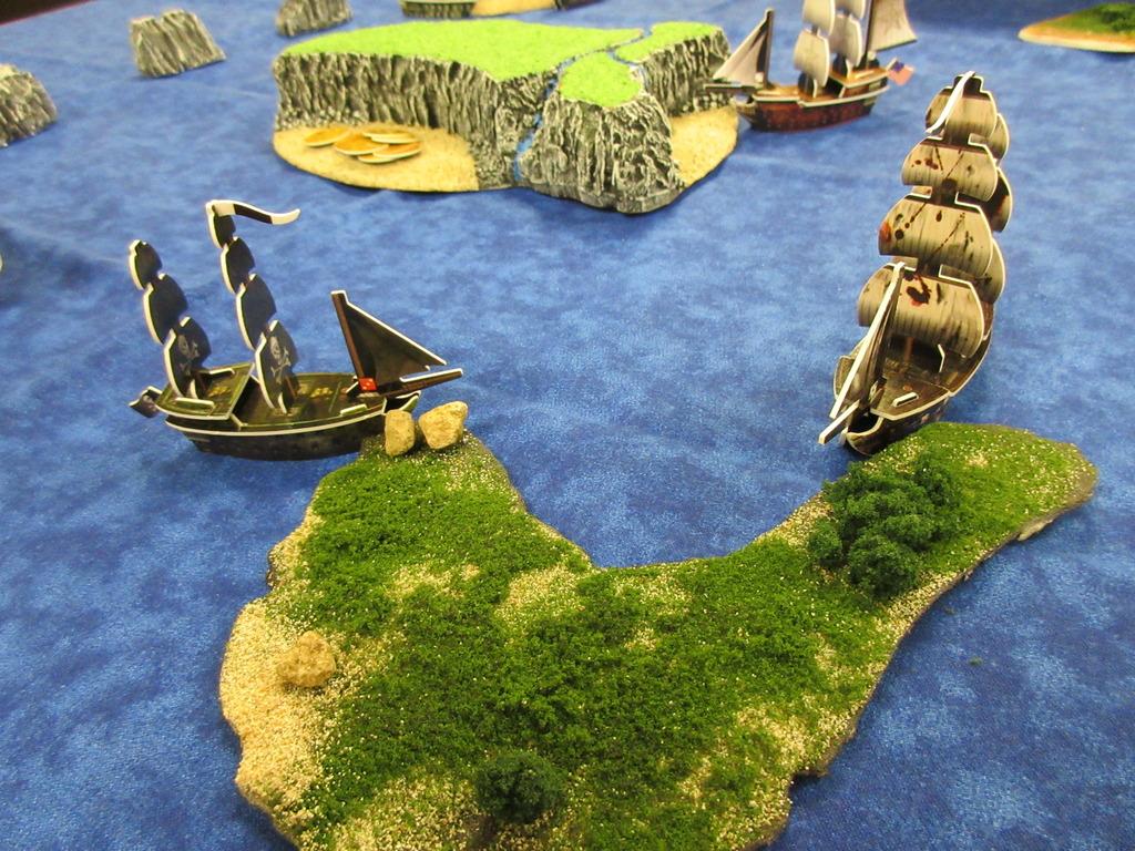 Pirate fleet docked at custom island