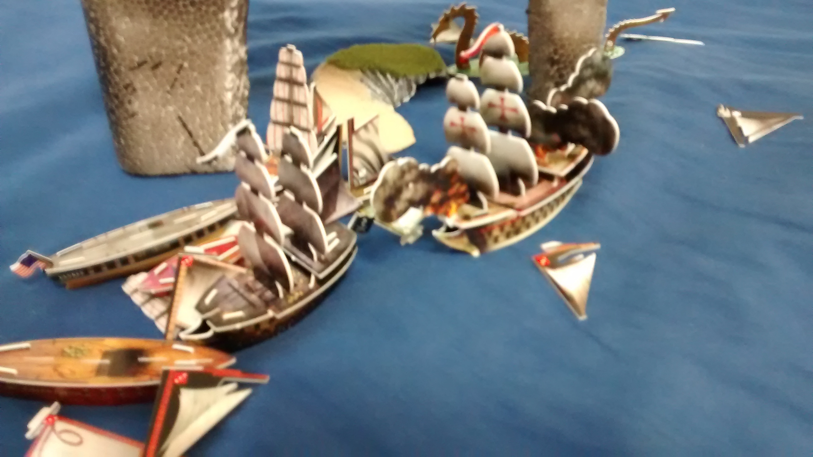 Argonauta burning fiercely at sea
