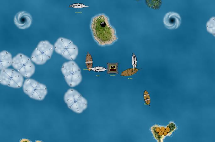 Pirates dismasting and capturing ships