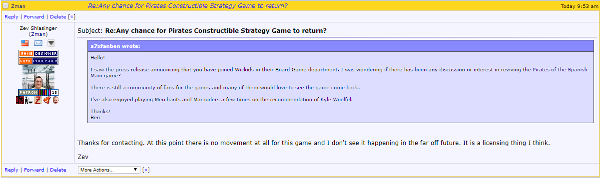 Zev Shlasinger from Z-Man games answer about Pirates CSG game status