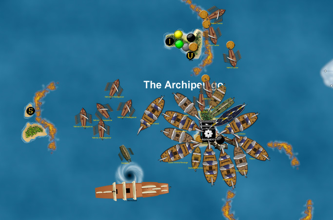 Pirate megalaunch from Skull Valley fort at Archipelago