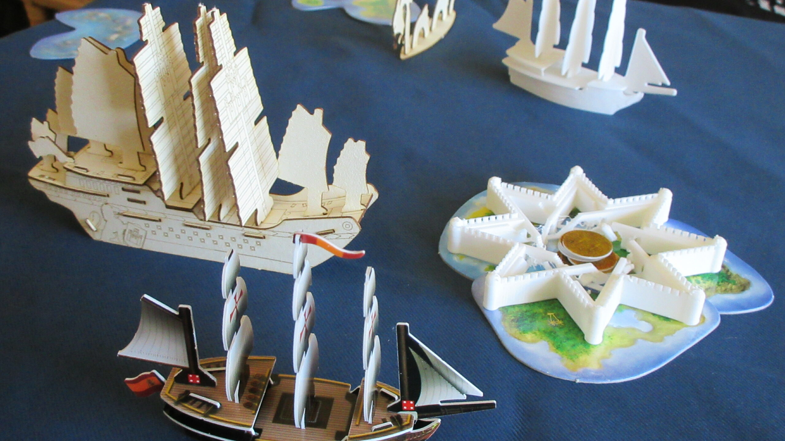 Pirates CSG concept game with 3D printed and wooden ships